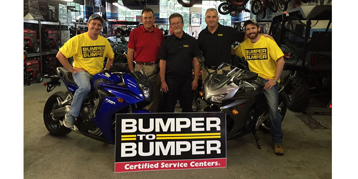 Pictured are Gary Wyllie, owner of C & G Automotive, and his two sons CJ and Nick; Michael Borr, president of Norwood Motor Parts, and John Tully, sales manager from Norwood Motor Parts.