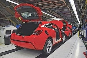 Gliwice, Poland - September, 29th, 2015: Car production line in Opel/Vauxhall (General Motors) factory in Poland. The Assembly Plant produces the Astra model in hatchback, coupe and sedan version and Cascada model (cabriolet). The manufacturing line was adapted for an annual capacity of 200,000 cars.