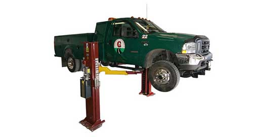 Mohawku0027s LC 12 Is A Low Ceiling, Clear Floor, Above Ground Lift Capable Of  Raising Light  And Medium Duty Vehicles Up To 12,000 Lbs.