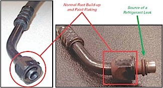 corrosion buildup around the o-ring and metal line degradation at the o-ring may be the source of a refrigerant leak.  source: delphi product & service solutions