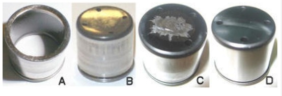 figure 1: cam followers in various stages of wear: holed base (a), excessive wear (b), normal wear (c) and new part (d).