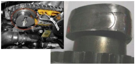 figure 2: excessive wear on the lobe for the high-pressure fuel pump in the intake camshaft.