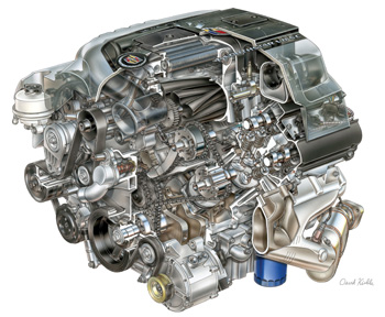the high-output, supercharged northstar dohc 4.4l v8 engine, developed for the