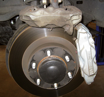 figure 1: the upgraded toyota tundra caliper holds a larger brake pad.