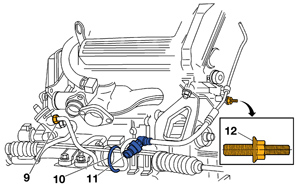 7  install the exhaust shield retaining bolts  8  on 1997-'99 deville and  eldorado models, connect the pressure switch (11) electrical connector